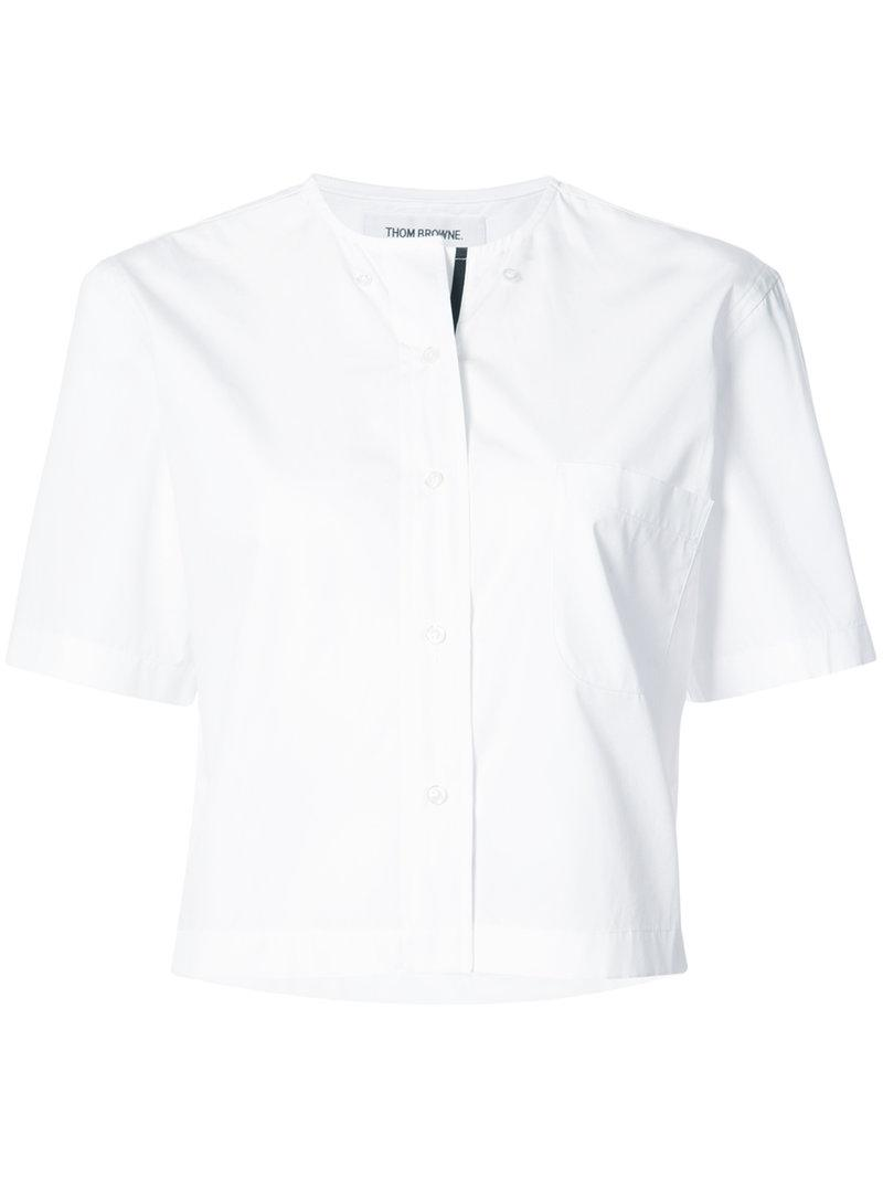 Thom Browne Short Sleeve Cropped Button Down Shirt With Grosgrain Placket In Egyptian Cotton Poplin