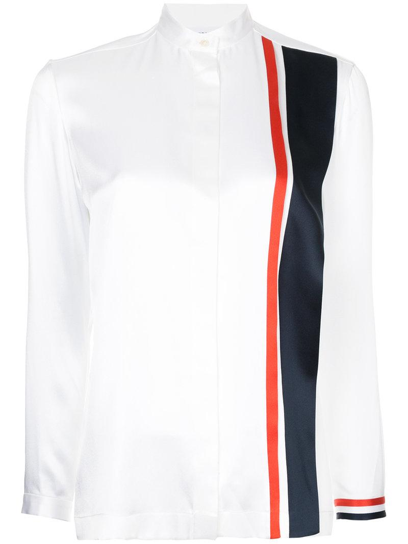 Thom Browne Band Collar Blouse With Repp Stripe Inserts In White Silk Charmeuse