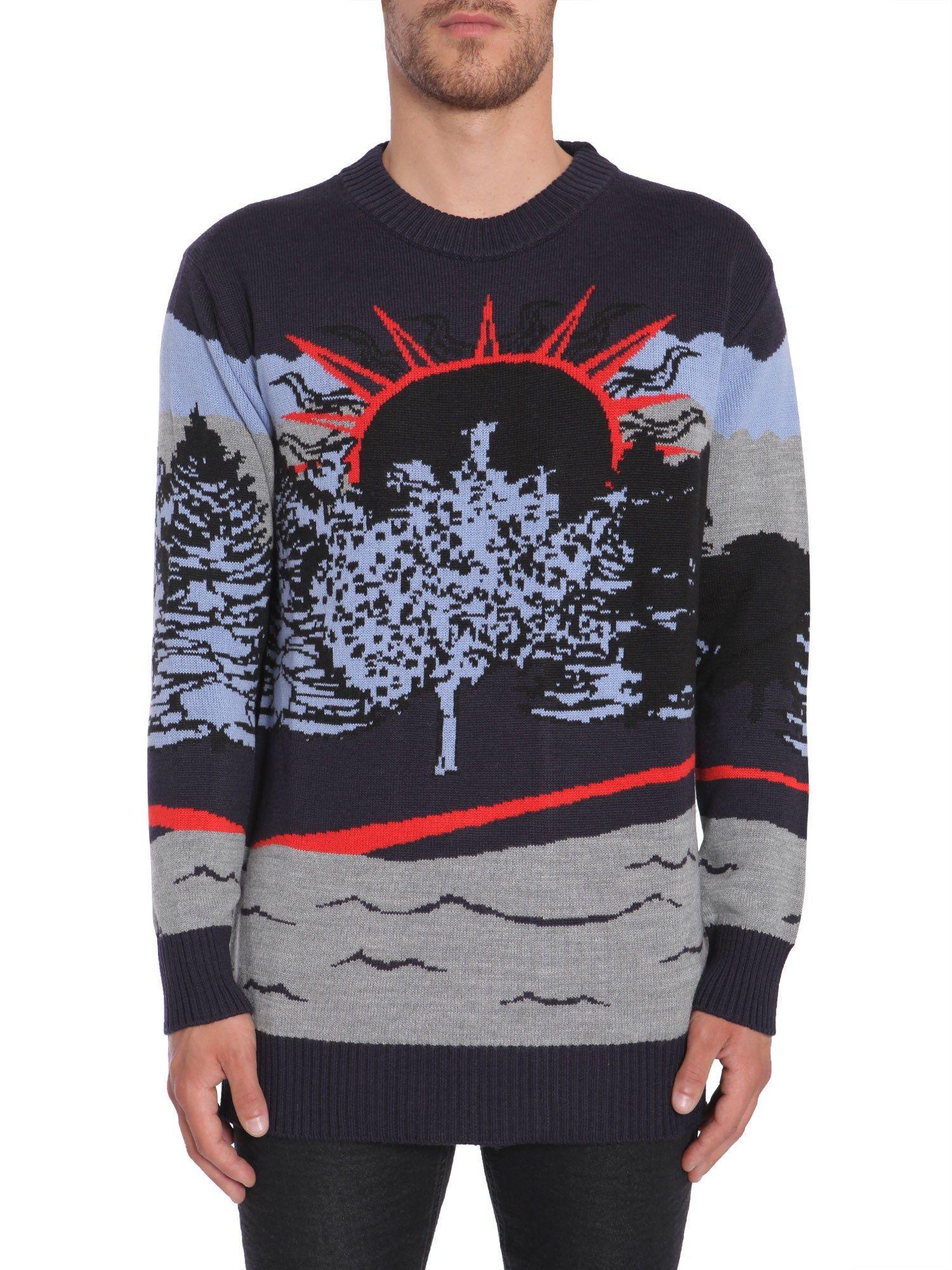 Diesel Black Gold Crew-Neck Sweater In Blu