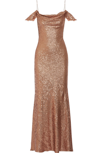 Rachel Zoe Cecilia Cold-Shoulder Sequined Stretch-Cady Gown In Copper