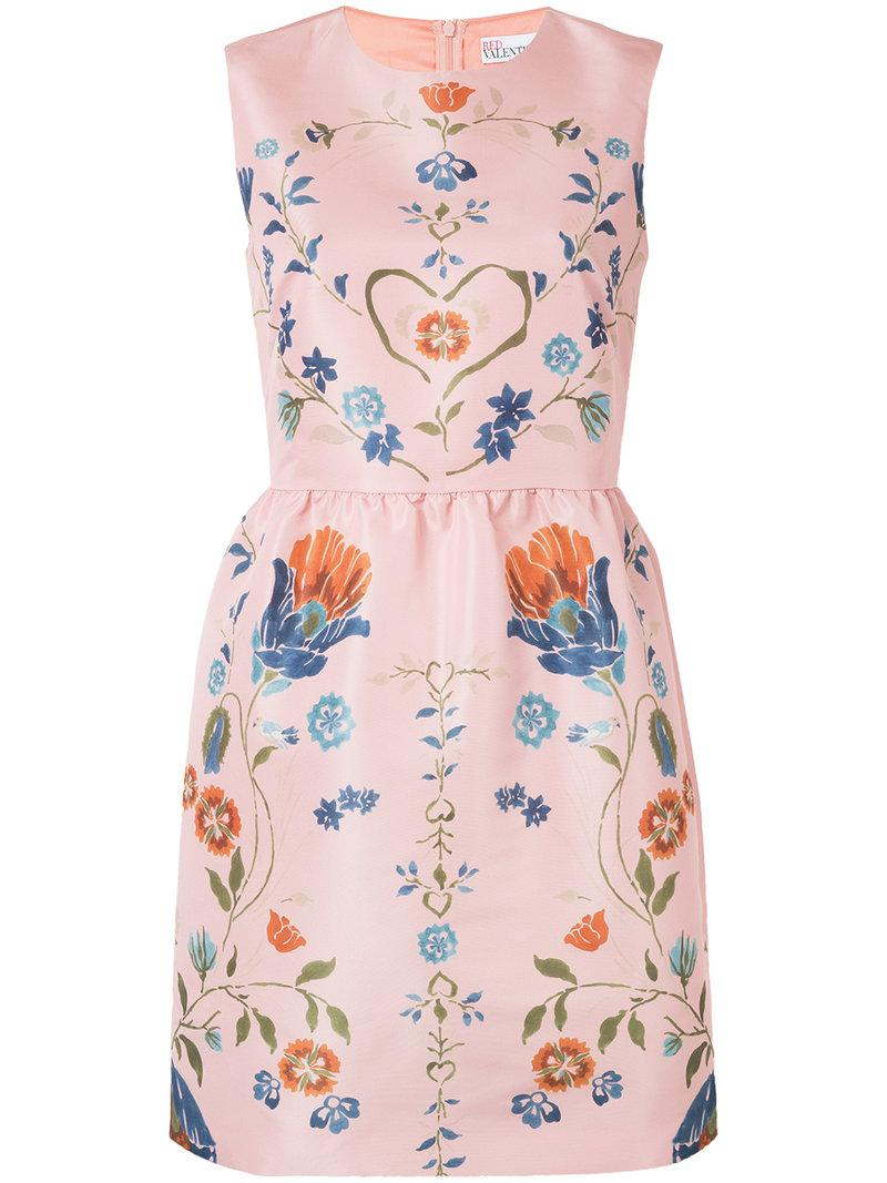 Red Valentino Floral Print Long Sleeve Dress