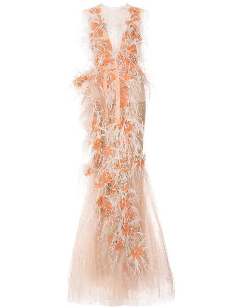 Marchesa Ruffle Draped Tulle Gown