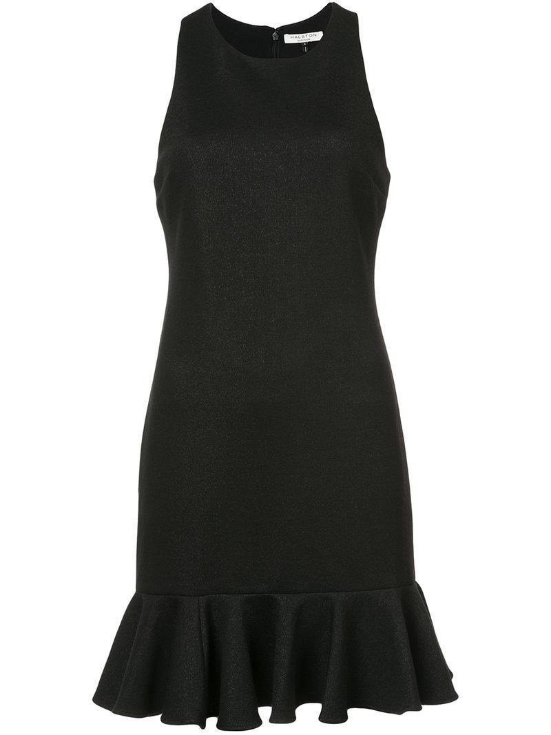 Halston Heritage Metallic Ruffle-Hem Dress In Black