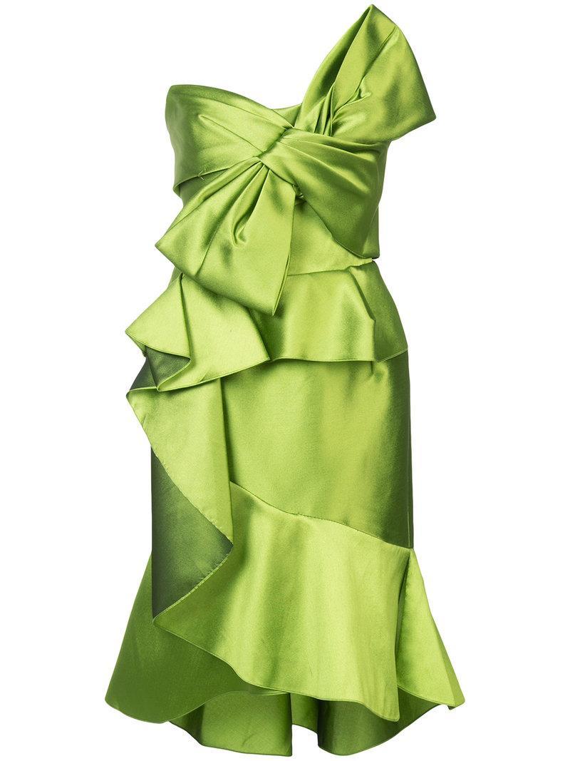 Marchesa Ruffled Bow Dress - Green