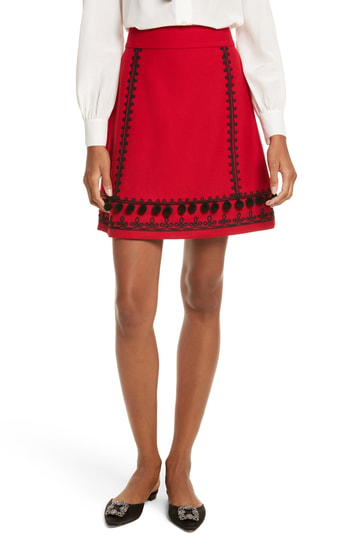 Kate Spade Pompom Embroidered A-Line Skirt In Charm Red
