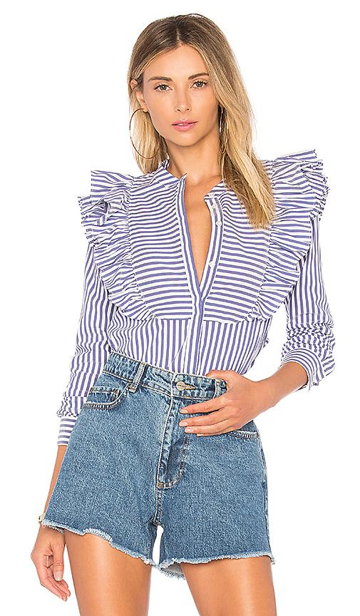 Anine Bing Striped Frill Blouse In Blue