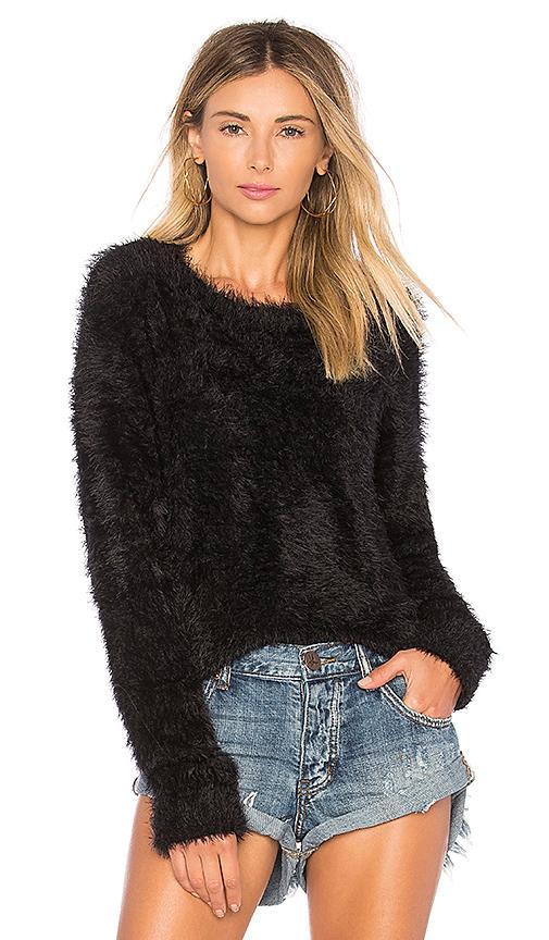 One Teaspoon Sugarloaf Crop Knit Sweater In Black