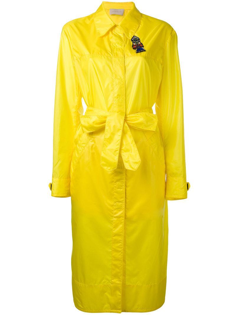 Christopher Kane Long Parachute Coat In Yellow & Orange
