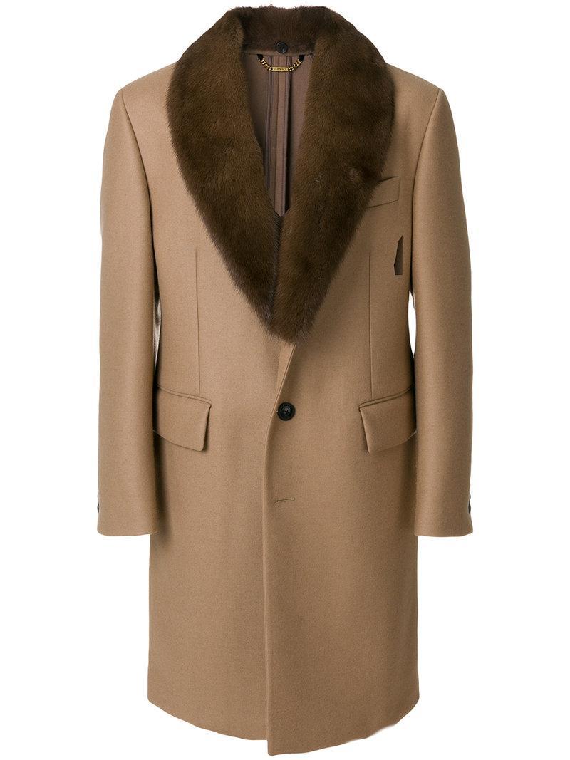 Versace Shawl Collar Coat In Brown