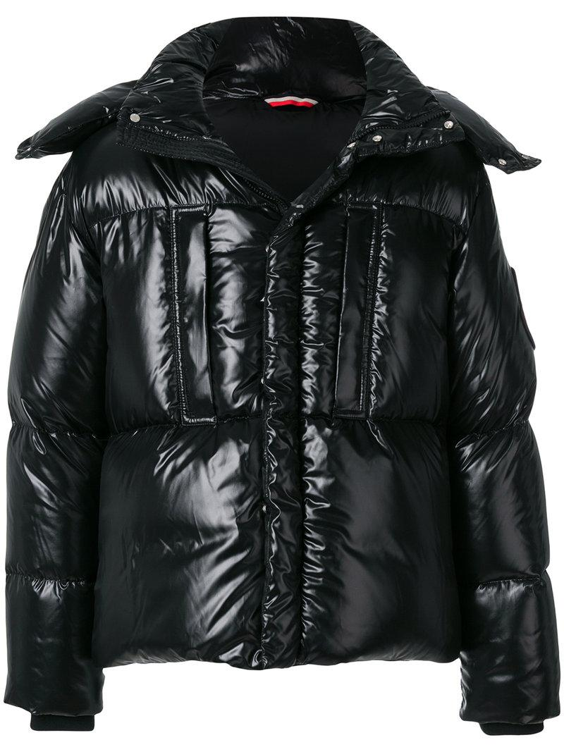 Moncler Glossy Padded Jacket In Black
