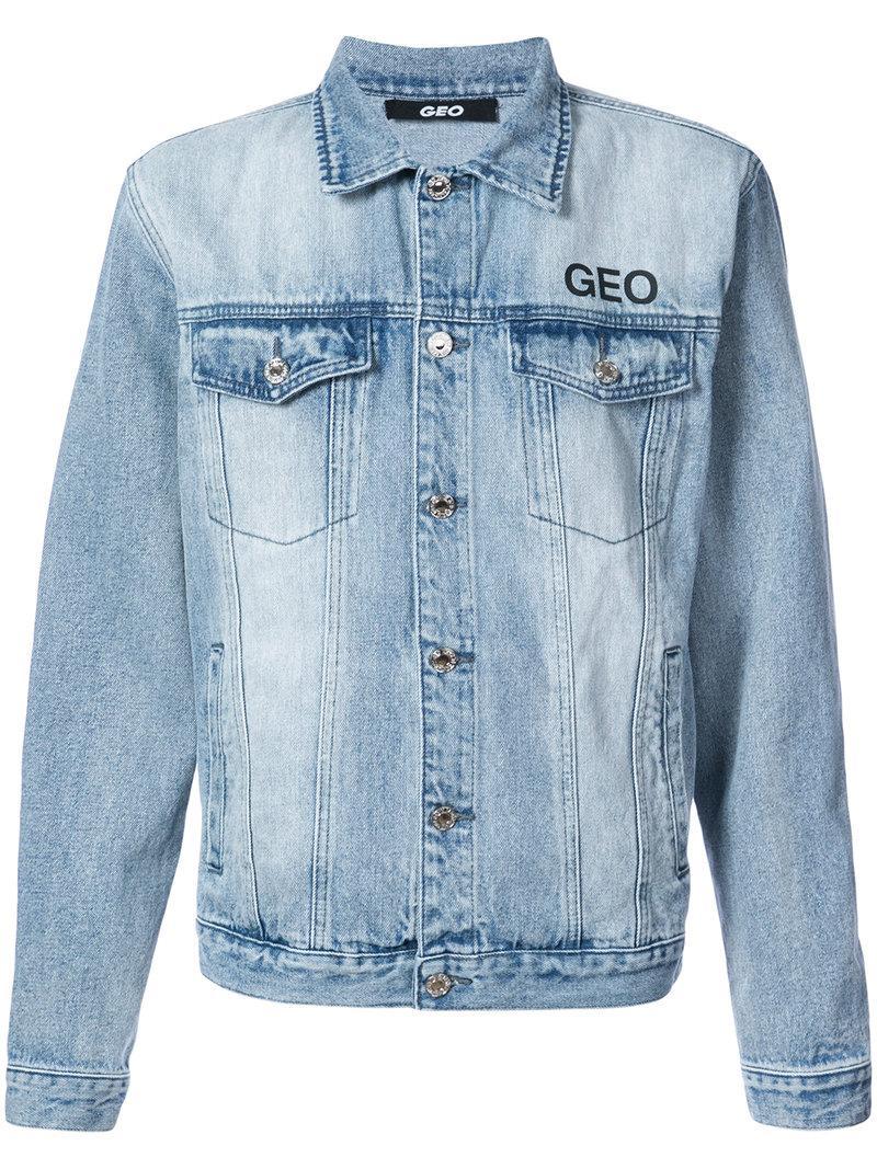 Geo Godspeed Denim Jacket In Blue