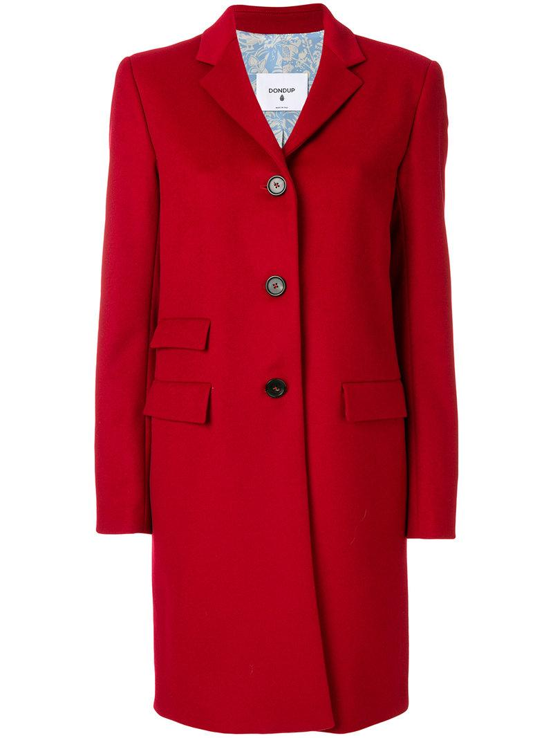 Dondup Fitted Button Up Coat - Red