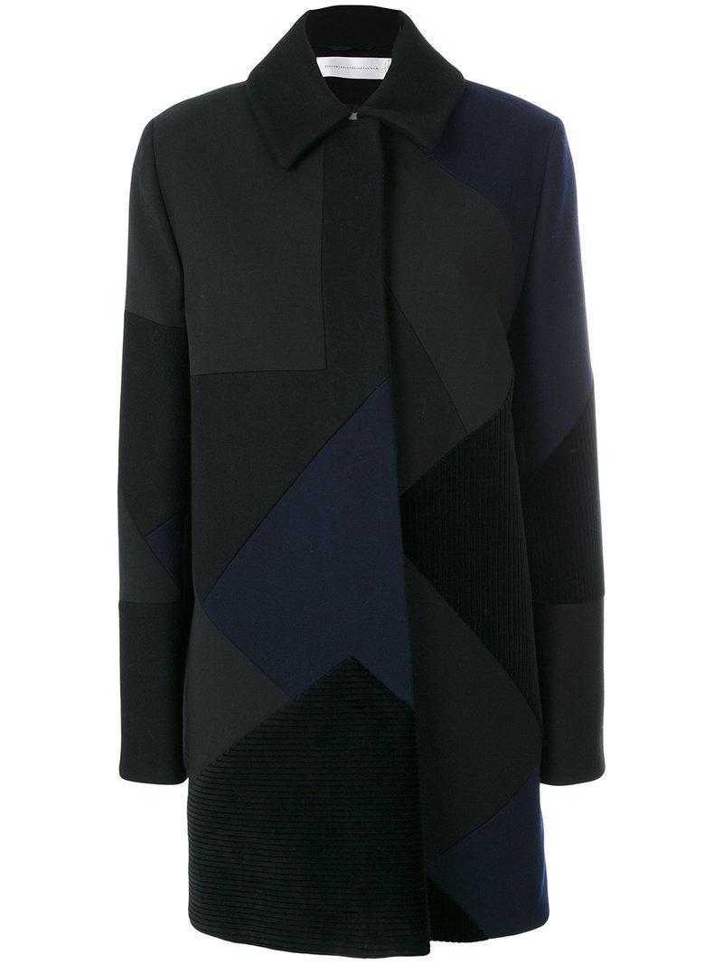 Victoria Victoria Beckham Patchwork Wool And Velvet Coat In Black