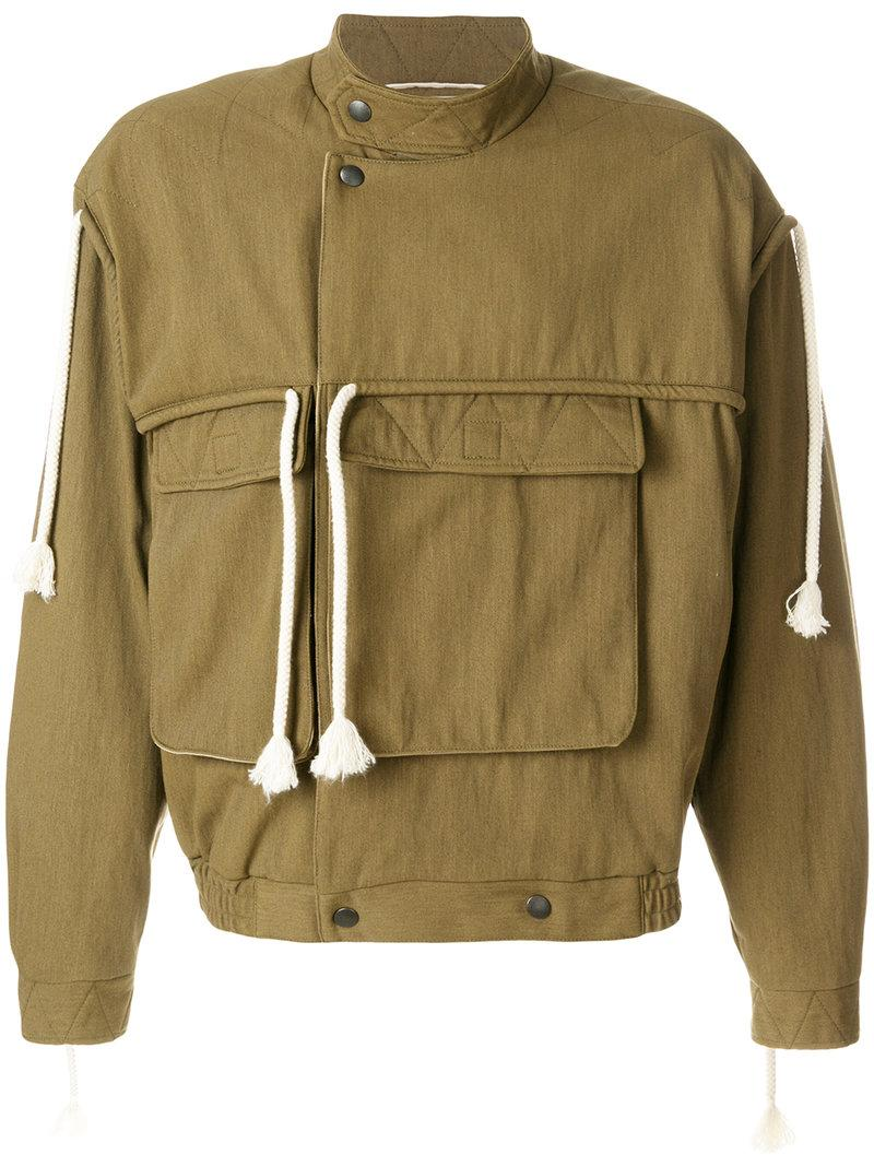 Maison Margiela Dropped Shoulder Drawstring Jacket In Brown