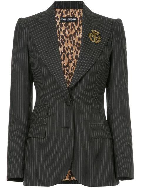 Dolce & Gabbana Embellished Pinstriped Wool Blazer In Black