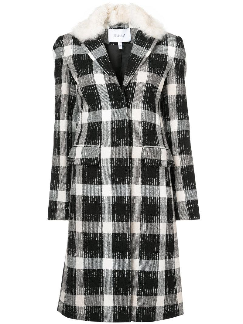 Derek Lam 10 Crosby Long Car Coat With Shearling Collar