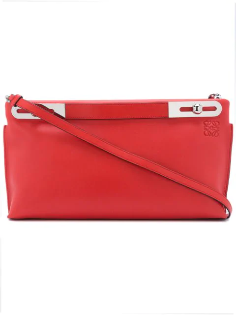 Loewe Missy Large Leather Clutch In Red