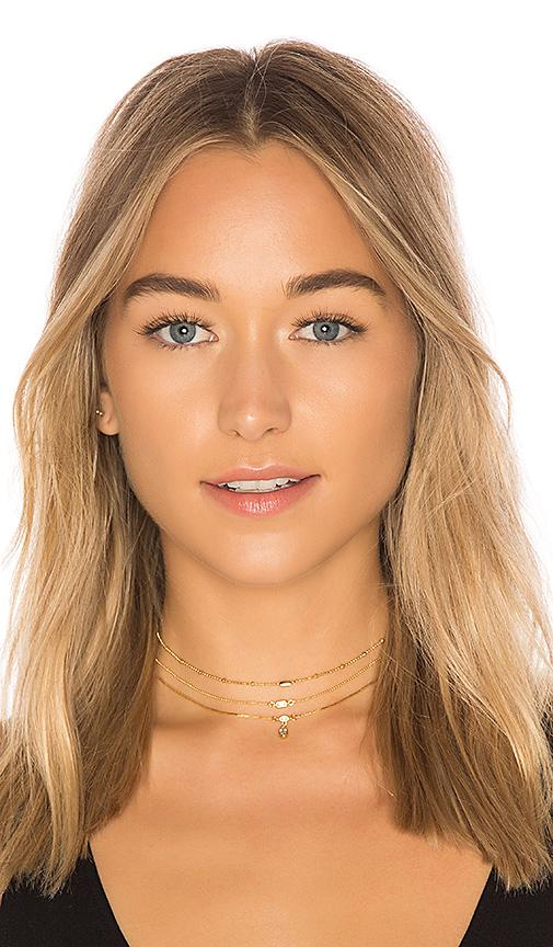 Luv Aj Hanging Stone Set Of Three Choker Necklaces In 14K Antique Gold