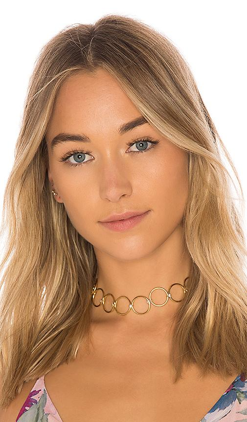 Luv Aj The Scattered Gem Loop Choker In Metallic Gold. In 14K Antique Gold