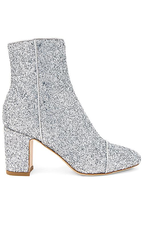 Polly Plume Ally Sparkling Bootie In Metallic Silver
