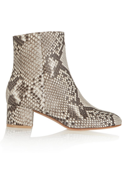 Gianvito Rossi Woman Python Ankle Boots Gray In Animal Print