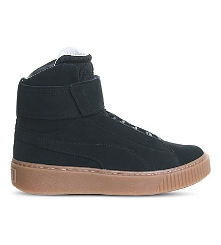Puma Platform Mid Suede Sneakers In Black Gum