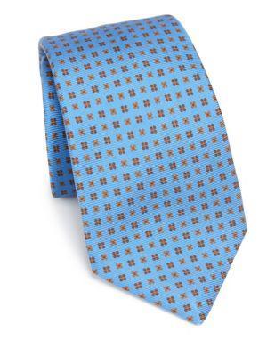 Kiton Diamond Silk Tie In Blue