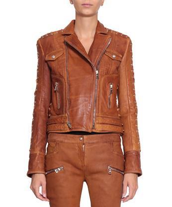 Balmain Leather Jacket In Marrone