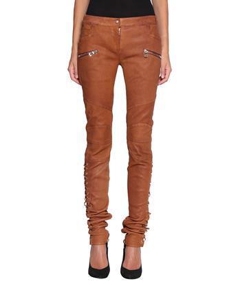 Balmain Leather Trousers In Marrone