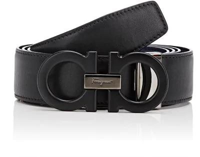 Salvatore Ferragamo Double-Gancini-Buckle Reversible Leather Belt In Black
