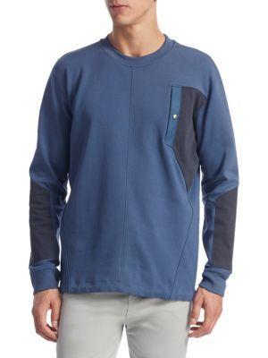 Diesel Black Gold Mixed Media Sweatshirt In Denim