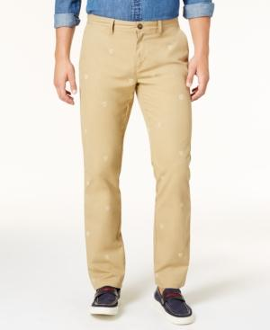 Tommy Hilfiger Men's Shield-Print Custom-Fit Chino Pants, Created For Macy's In Arizona Khaki