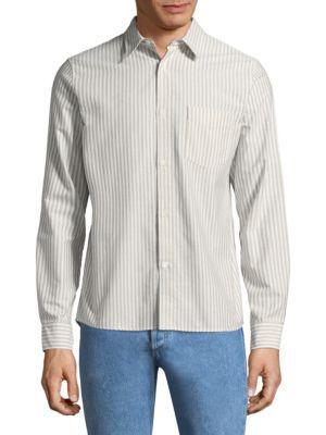 A.P.C. Stripe Cotton Button-Down Shirt In Kaki Clair