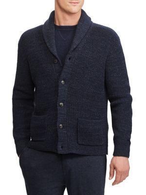 Polo Ralph Lauren Ribbed Shawl Collar Cardigan In Navy
