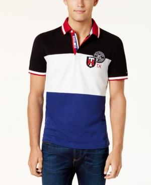 Tommy Hilfiger Men's Kirk Colorblock Patch Classic-Fit Polo In Black