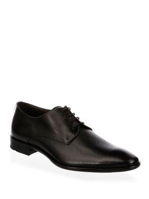 Hugo Boss Chelsea Almond Toe Leather Derbys In Black