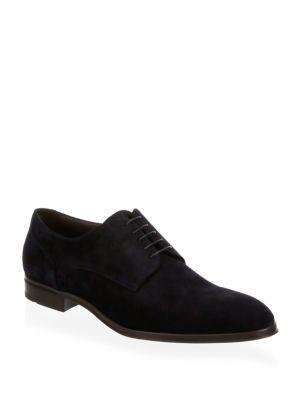 Hugo Boss Eton Suede Derby Shoes In Navy