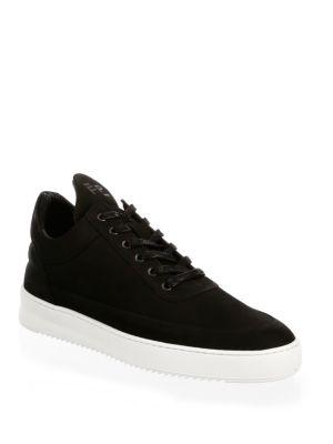 Filling Pieces Low-Top Ripple Leather Sneakers In Black