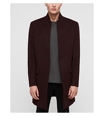 Allsaints Bodell Notch-lapel Wool Coat In Charcoal Grey