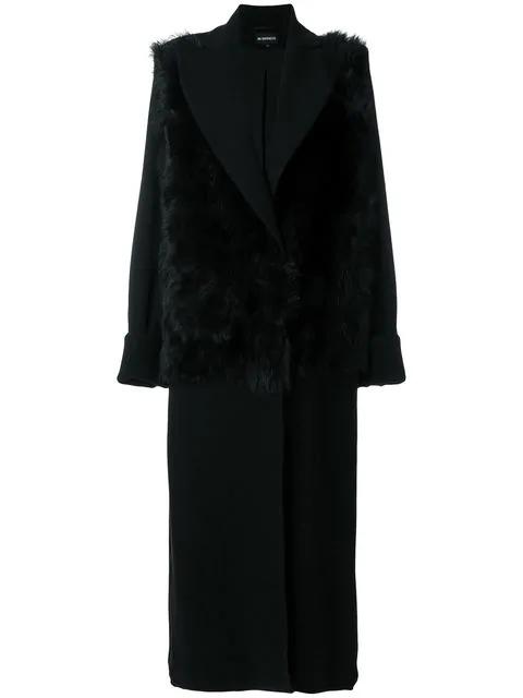 Ann Demeulemeester Fur-Trimmed Wool Coat In Nero