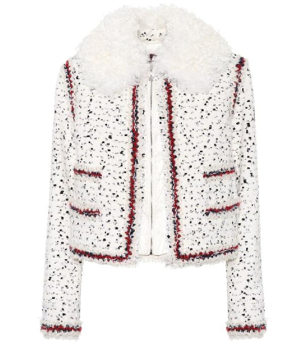 Moncler Gamme Rouge Nynke Wool Blend Tweed Jacket In White