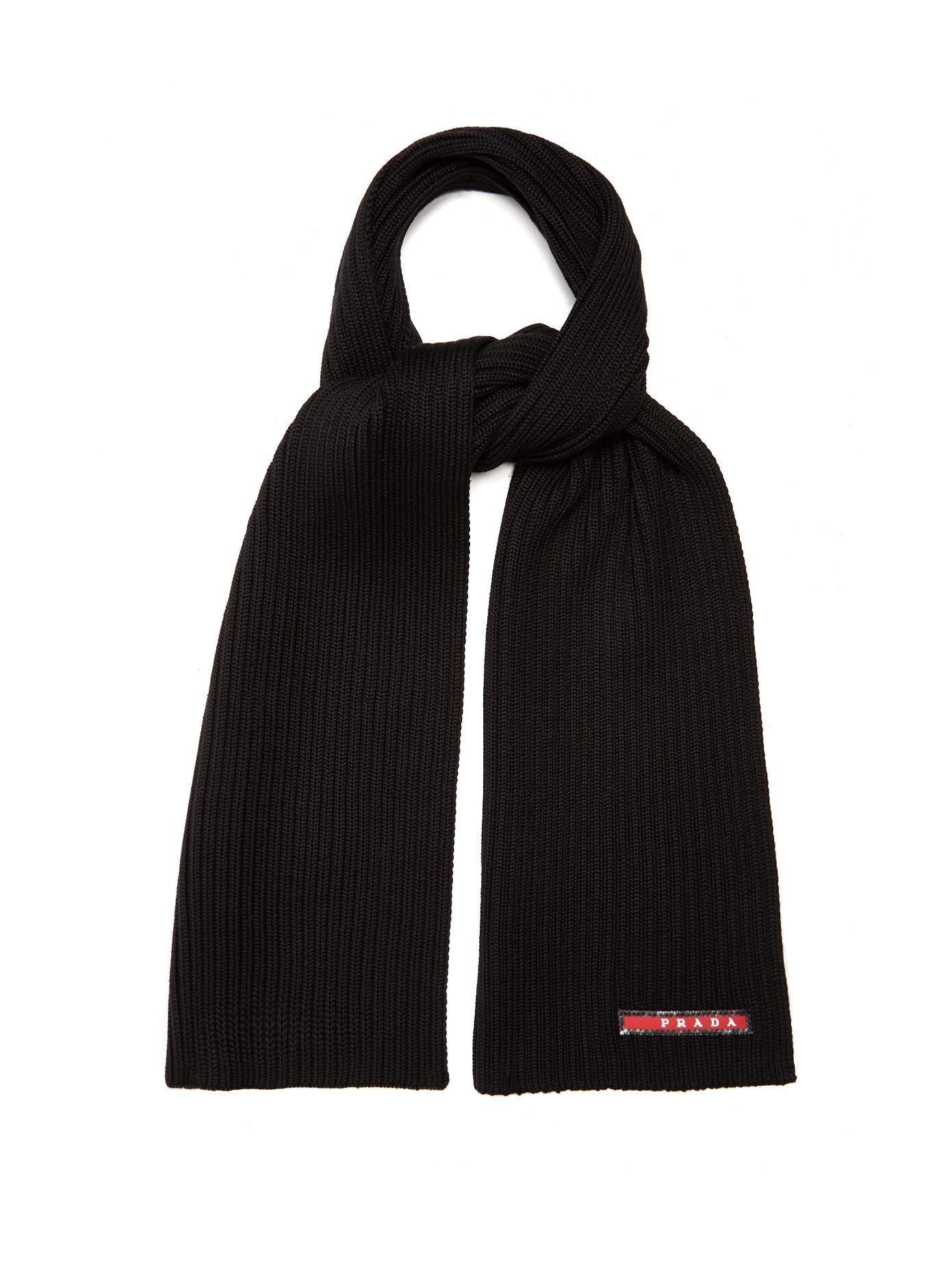 Prada Ribbed-Knit Wool Scarf In Black