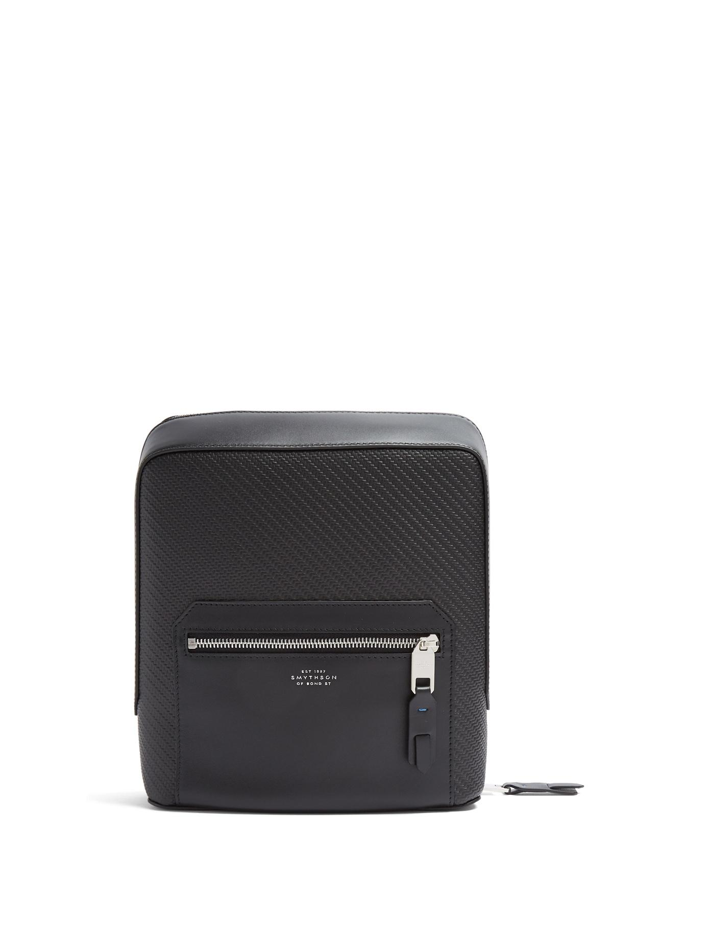 Smythson - Greenwich Woven Leather Tech Case - Mens - Black