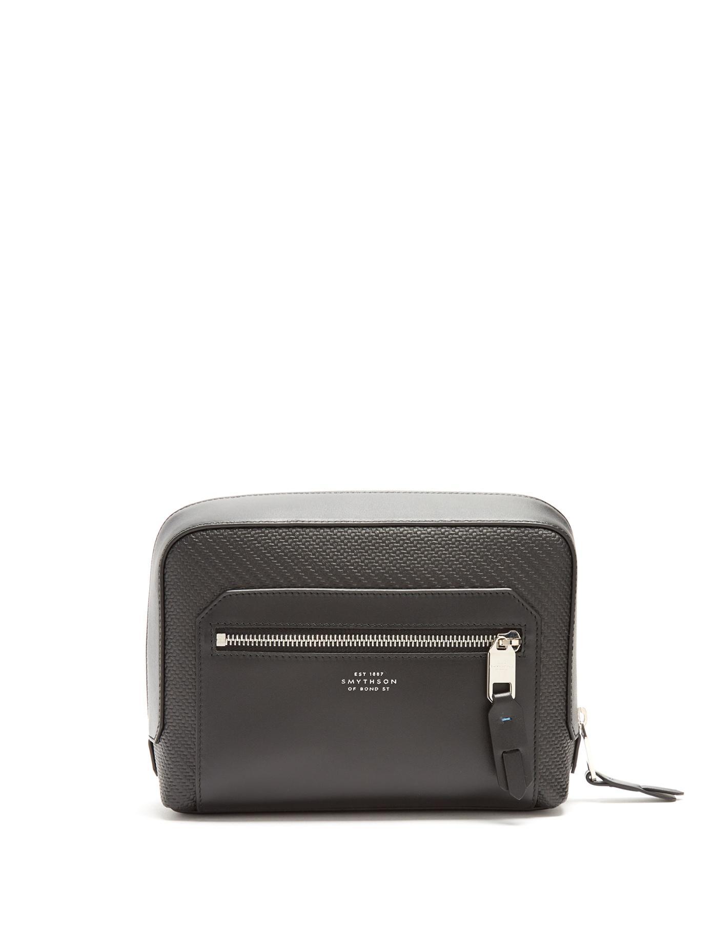 Smythson Greenwich Leather Washbag In Black
