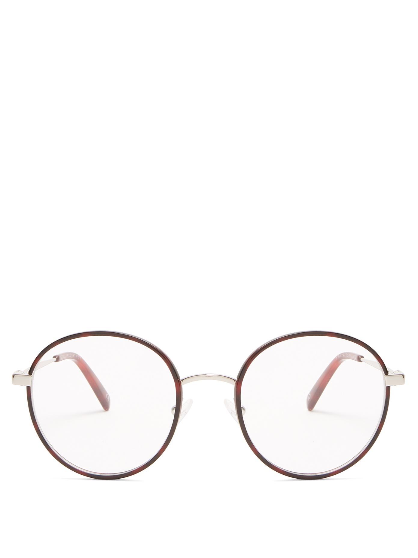 Stella Mccartney - Round Frame Metal Glasses - Womens - Tortoiseshell