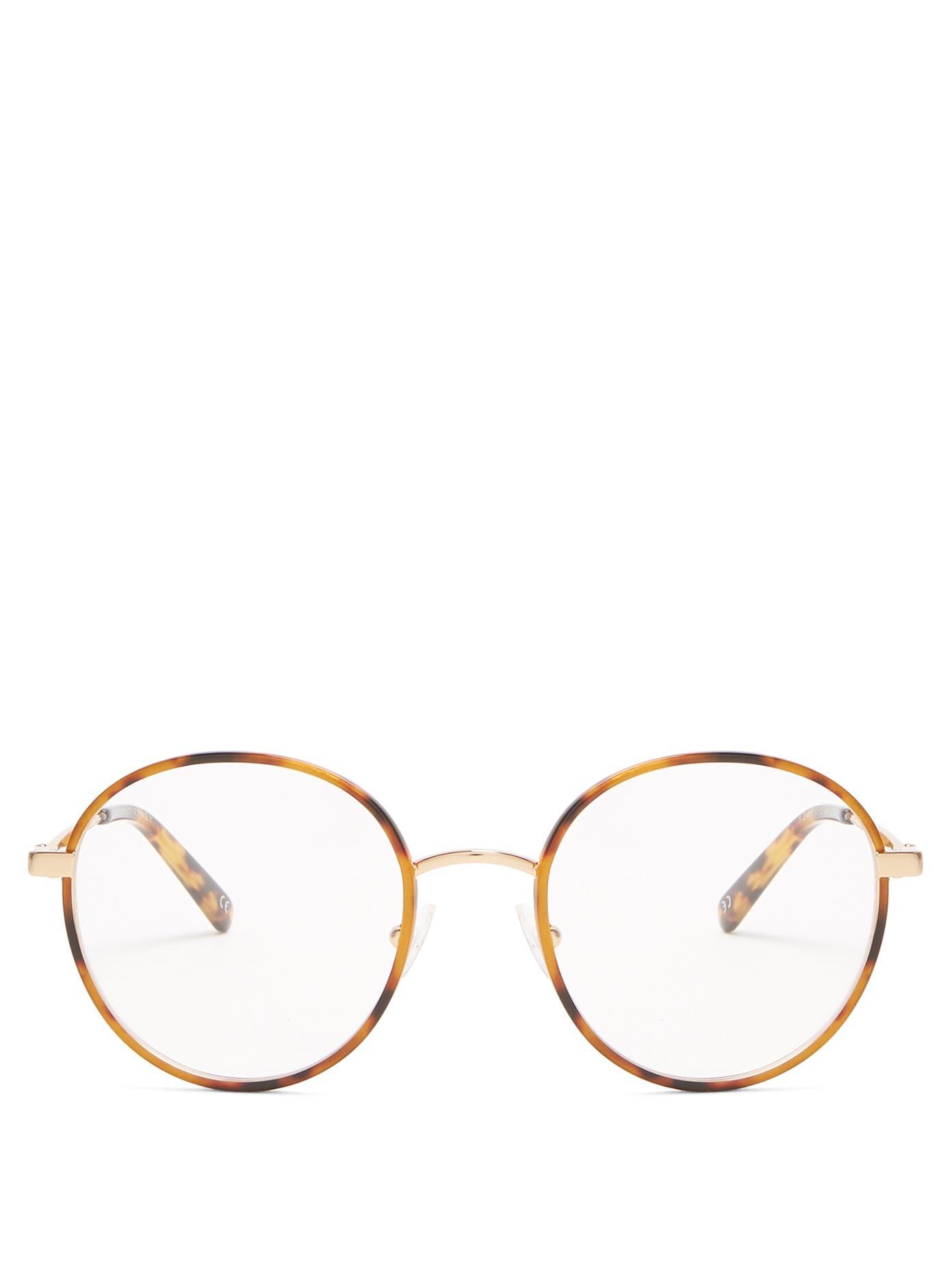 Stella Mccartney Round-Frame Metal Glasses In Tortoiseshell