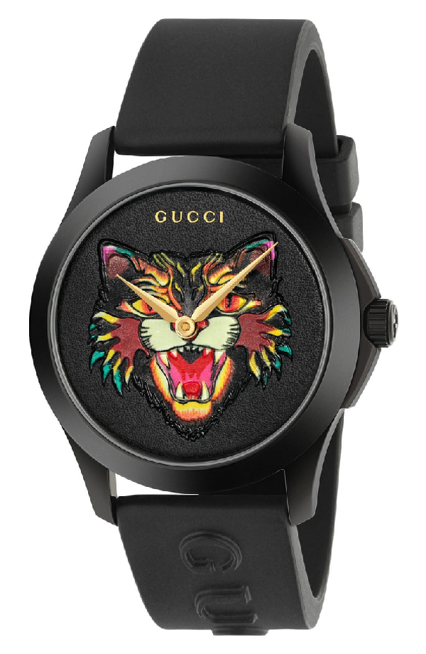 Gucci 38Mm Angry Cat Blackened Stainless Steel And Rubber Watch - Black - One Siz