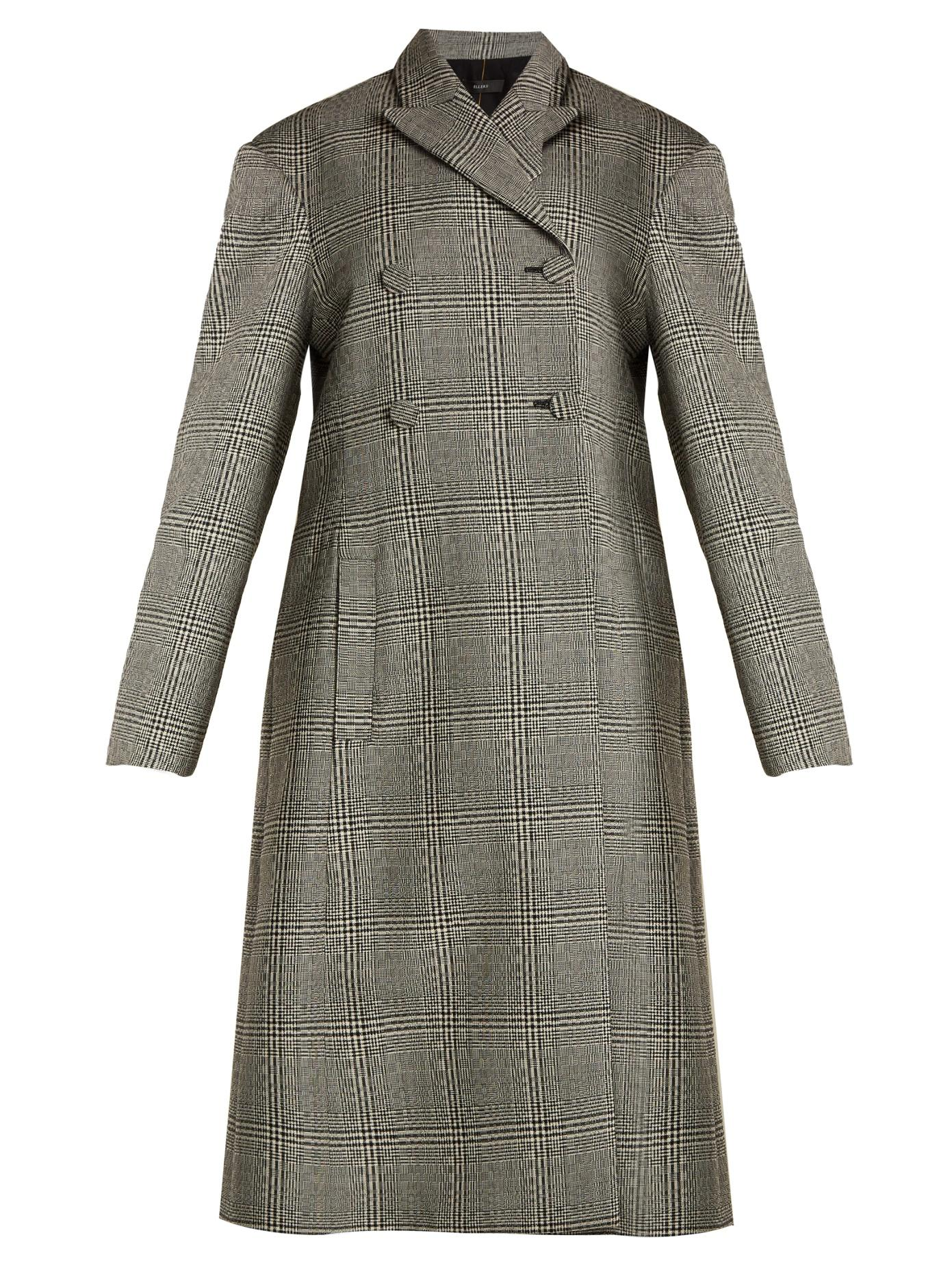 Ellery Bel Air Checked Double-Breasted Wool Coat In Black White
