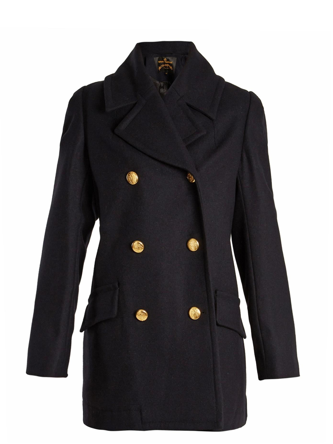 Vivienne Westwood Anglomania Mosto Double-Breasted Melton Wool Coat In Navy