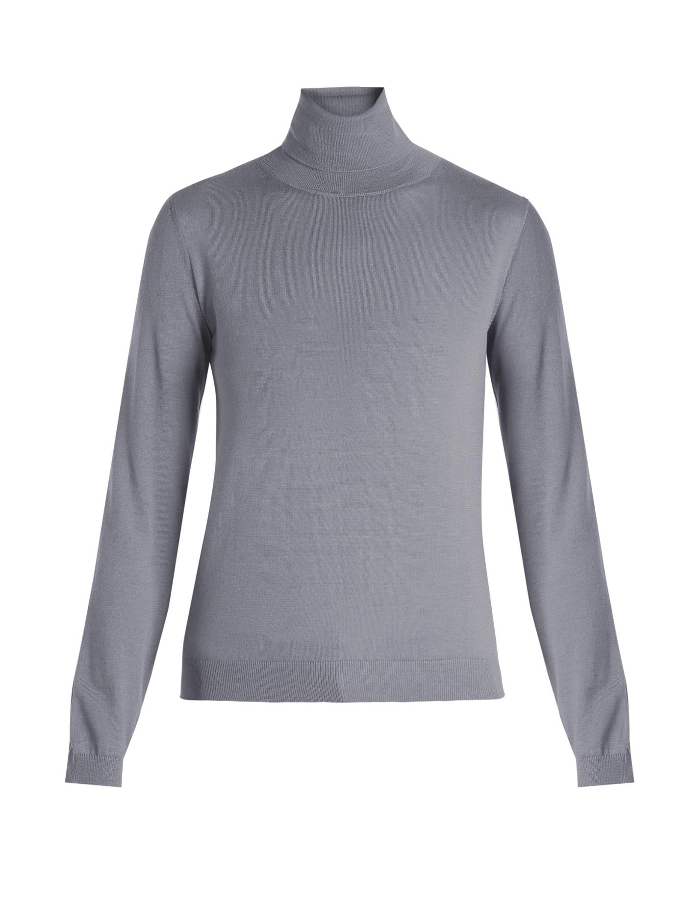 Red Valentino Roll-Neck Cashmere-Blend Sweater In Light Blue